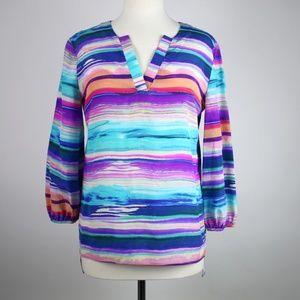 AMANDA UPRICHARD Colorful Silk Blouse SMALL
